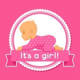 29腹部弓女孩查出在桃红色怀孕的星期 婴儿送礼会邀请 向量例证
