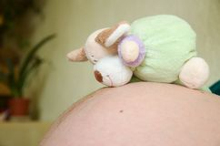 腹部怀孕的玩具 库存图片