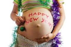 腹部新年好 库存照片