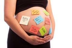 腹部注意怀孕的粘性妇女 免版税库存图片