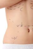 腹部白种人线路明显的s妇女 免版税库存图片