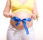 腹部蓝色蝴蝶结怀孕的数据条 免版税库存图片