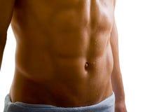 腹部赤裸机体的男 库存图片