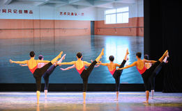 腿训练古典芭蕾训练基本的舞蹈培训班 免版税库存照片