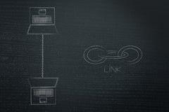 膝上型计算机互相连接用链子和链接象在他们旁边网作用metaphot  向量例证