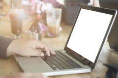 膝上型计算机人使用 免版税库存照片