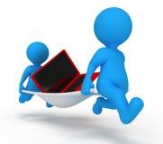 膝上型计算机人服务 库存例证