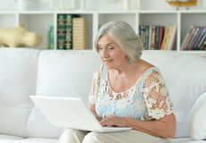 膝上型计算机前辈妇女 库存照片