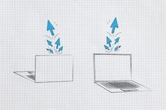 膝上型计算机前面和后面与点击和游标小河流行在屏幕外面 库存图片
