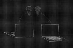 膝上型计算机前面和后面有法线和电路从一个到另一个移动的电灯泡的 免版税库存照片