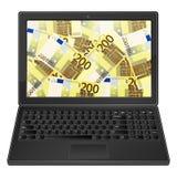 膝上型计算机和二百欧元背景 免版税库存照片