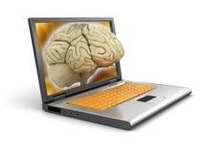 膝上型计算机和人脑(包括的裁减路线) 库存图片