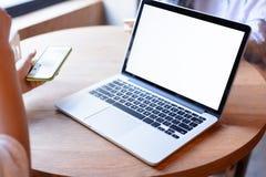 膝上型计算机和会议 库存图片