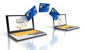 膝上型计算机和信用卡(包括的裁减路线) 免版税库存图片