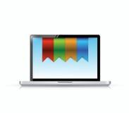 膝上型计算机和垂悬的横幅例证 免版税图库摄影