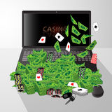 膝上型计算机和堆美元赌博娱乐场晶片卡片 库存例证