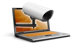 膝上型计算机和安全监控相机(包括的裁减路线) 免版税图库摄影
