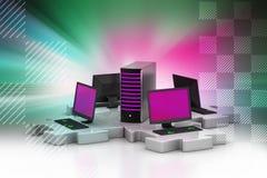 膝上型计算机和服务器在难题连接 库存图片