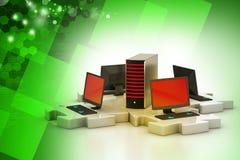 膝上型计算机和服务器在难题连接 图库摄影