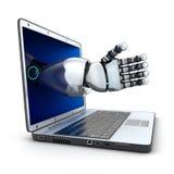 膝上型计算机和机器人胳膊 库存图片