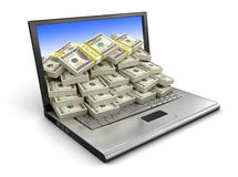 膝上型计算机和美元(包括的裁减路线) 库存图片