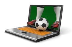 膝上型计算机和足球(包括的裁减路线) 免版税库存图片