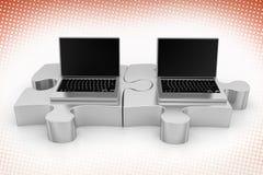 膝上型计算机和难题在半音背景中 免版税库存照片