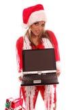 膝上型计算机圣诞老人夫人 免版税库存照片