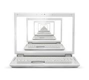 膝上型计算机多个任务 免版税图库摄影