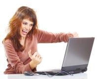 膝上型计算机妇女 免版税库存照片