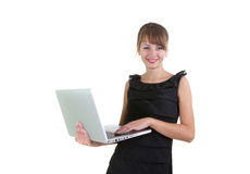 膝上型计算机妇女 免版税库存图片