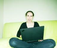 膝上型计算机妇女 库存图片