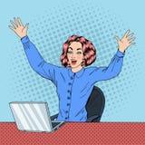 膝上型计算机妇女 2 business woman 妇女在工作 愉快的妇女 皇族释放例证
