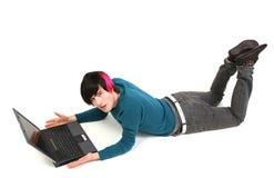 膝上型计算机学员 库存照片