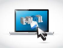 膝上型计算机开头邮件。例证设计 图库摄影
