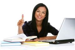 膝上型计算机成功的妇女年轻人 库存图片