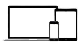 膝上型计算机智能手机和片剂个人计算机大模型 免版税库存图片