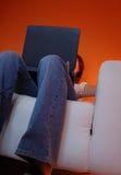 膝上型计算机桔子冲浪 免版税库存图片