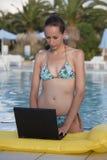膝上型计算机池妇女 库存图片