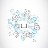 膝上型计算机片剂消息邮寄的概念 免版税库存图片