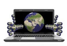 膝上型计算机用以行星的形式手 免版税库存照片