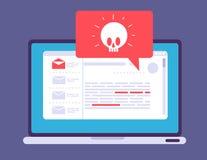 膝上型计算机病毒戒备 在屏幕上的Malware特洛伊通知 黑客攻击和不安全的互联网连接 库存例证