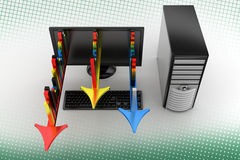 从膝上型计算机的五颜六色的长条图在中间影调 图库摄影