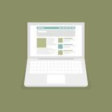 膝上型计算机的网站 免版税库存图片