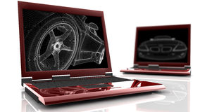 膝上型计算机红色二 库存照片
