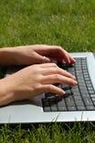 膝上型计算机草坪 图库摄影