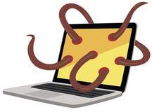 膝上型计算机蠕虫 免版税库存照片