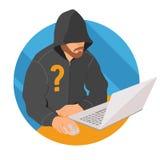 膝上型计算机象的,平的设计网匿名标志,传染媒介例证匿名用户 免版税库存照片