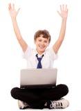 膝上型计算机青少年愉快 免版税库存照片
