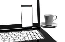 膝上型计算机,在与裁减路线的白色-隔绝的手机 免版税库存照片